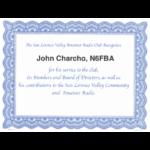 Thanks to John N6FBA